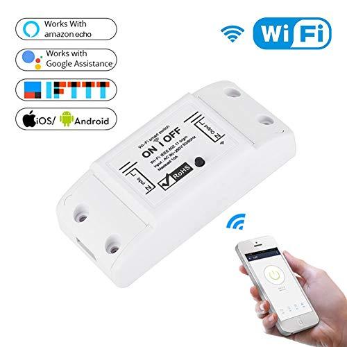 10A Wireless Lichtschalter, Universal DIY Modul WIFI Fernsteuerungsschalter Kompatibel mit Alexa & Google Home Assistant