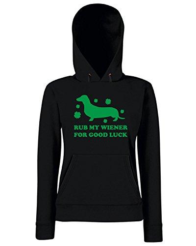 T-Shirtshock - Sweats a capuche Femme TIR0173 rub my wiener for good luck green tshirt Noir