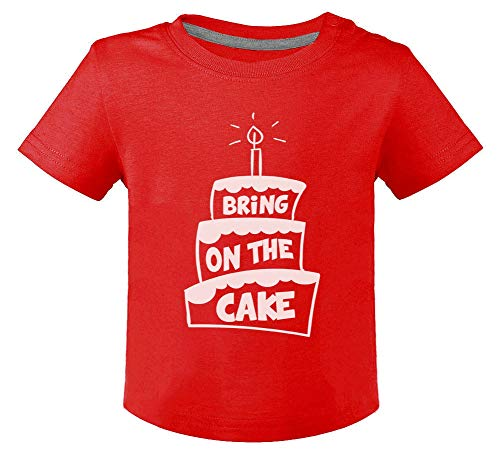 Anniversaire Bring on The Cake T-Shirt Bébé Unisex 12M Rouge