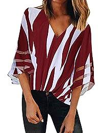 dcf5a129a185e3 Longra Camicetta Elegante Donna T-Shirt A Righe Maglia Manica Lunga Estate  Taglie Forti Camicie Lunghe Maniche Corta Maglietta Casual Shirt…