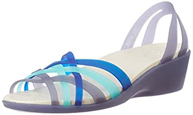 Crocs Women's Huarache Mini Wedge Nautical Multi-color Rubber Fashion Sandals - W5 (14384-4CX)