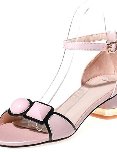 LFNLYX Scarpe Donna-Sandali-Formale / Casual / Serata e festa-Tacchi / Cinturino alla caviglia-Quadrato-Pelo di vitello-Rosa / Bianco White