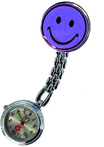 Schwesternuhr Uhr Smiley Clip violett 2er Set = 2 Stück Tiga-Med Krankenschwester Pulsuhr