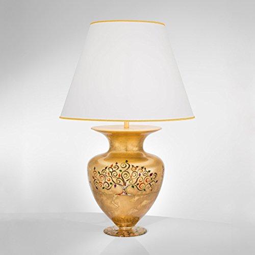 Kolarz Exklusive Tischleuchte Gold Vase Trichter-Schirm E27 Nachttischleuchte Vasenleuchte...