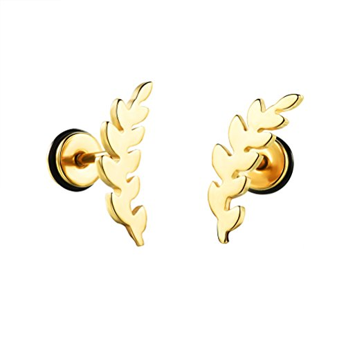 HIJONES Donna Acciaio Inossidabile Placcato Foglia Oro/Argento/Nero Orecchini Piercing Borchie Oro