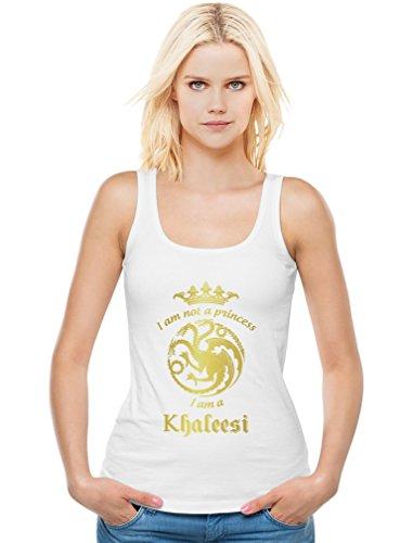 Game I'm Not A Princess I'm A Khaleesi Thrones Damen Weiß Medium Tank Top (Princess T-shirt Green)
