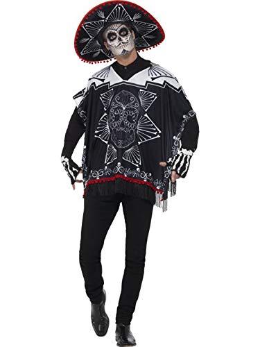 Fancy Ole - Herren Männer Männer Day of The Dead Kostüm im Mexiko Banditen Stil, Poncho Sombrero und Handschellen, perfekt für Halloween Karneval und Fasching, One Size, Schwarz
