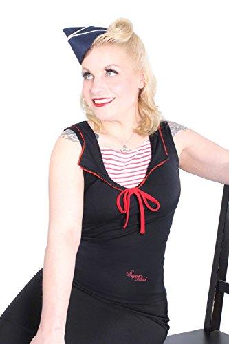 SugarShock Damen Striped Sailor Marine pin up rockabilly Seemanns Kragen Shirt TOP Schwarz