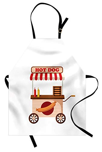 Food Cart Design (Muccum Snack Apron Lovely Mobile Snack Themed Cartoon Design for Hot Dog Fast Food Stands and Carts Unisex Kitchen Bib Apron with Adjustable Neck for Cooking Baking Gardening Multicolor)