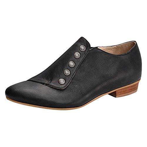 BHYDRY Damen lässig große niedrige Ferse dick mit einfarbigen kurzen Stiefeln Stiefel nackten Stiefeln (41,Schwarz)