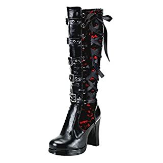 VECDY Damen Stiefel Mode Boots Frauen Schuhe Cosplay Cross Tied Leder Knie Plateaustiefel Gothic Bows Stiefeletten