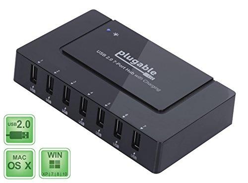 Plugable USB 2.0 7-Port Hub und Schnellladegerät mit 60W Netzteil für EU und GB (BC 1.2 Aufladefunktion für iOS, Android, Windows Mobile uvm.)