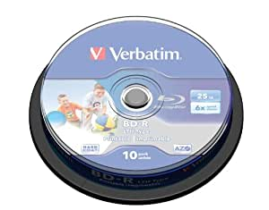 Verbatim 43751 Blu ray BD-R simple couche LTH Surface imprimable 6x 25 Go Pack de 10