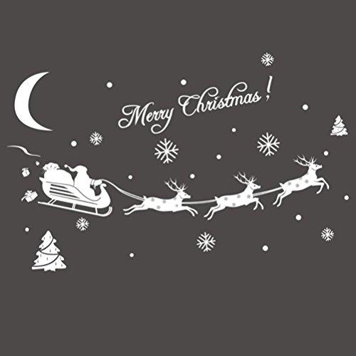 Pixnor Fenêtre s'accroche décoration de Noël de cerf flocon de neige (blanc)