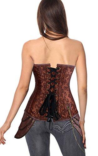 Charmian Women's Steampunk Brocade Steel Boned Underbust Corset with Hip Panels Braun