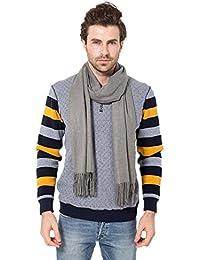 EOZY Casual Solid Color Soft Cashmere Winter Men Warm Tassels Shawl Scarf Grey