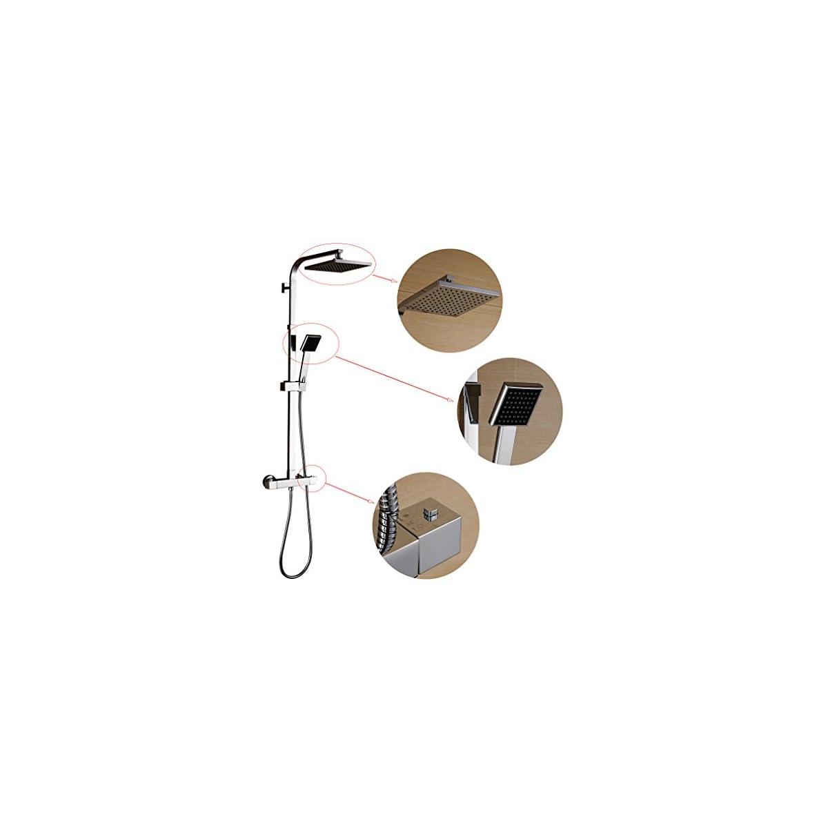"""41wyvezWqaL. SS1200  - Columna ducha termostatica,Auralum® 8 """"Set de ducha cuadrado termostatico con ducha mango + alcachofa ducha lluvia cuadrada + ducha termostatica para ducha de baño en latón,altura se puede ajustar"""