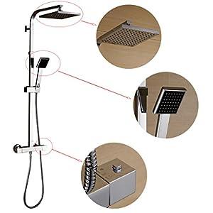 Columna ducha termostatica,Auralum® 8 «Set de ducha cuadrado termostatico con ducha mango + alcachofa ducha lluvia cuadrada + ducha termostatica para ducha de baño en latón,altura se puede ajustar