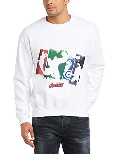 Marvel Herren Sweatshirt Avengers Assemble Team Punch Out Weiß - Weiß