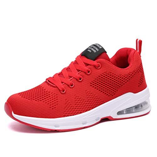 Sportschuhe Damen Turnschuhe Sneaker Freizeit Air Rutschfeste Laufschuhe DäMpfung Leichte Atmungsaktive Schuhe Schwarz Blau Rot Gr.35-42 RD38 Rot-walking-schuh
