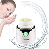 Electric Sonic Vibrating Face Brush, Zesgood Mini Facial Cleansing Brush with 2 Brush Heads/3 Speeds for All Skin Types Gentle & Deep Cleaning/Exfoliating, Wireless Charging/Waterproof - White