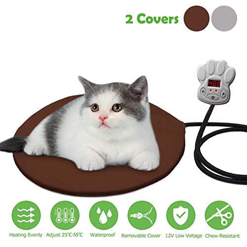 FOCHEA 15W Heizmatte für Haustiere Rund Wärmematte für Hunde und Katzen Heizdecke Heizkissen mit 7 einstellbaren Temperaturen und Zwei herausnehmbaren Fleece-Hüllen (Heizkissen Liege)