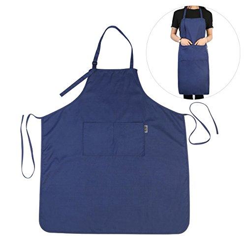 UEETEK Trabajo mandil delantal cocina delantal de trabajo para cocina restaurante cafetería supermercado azul marino