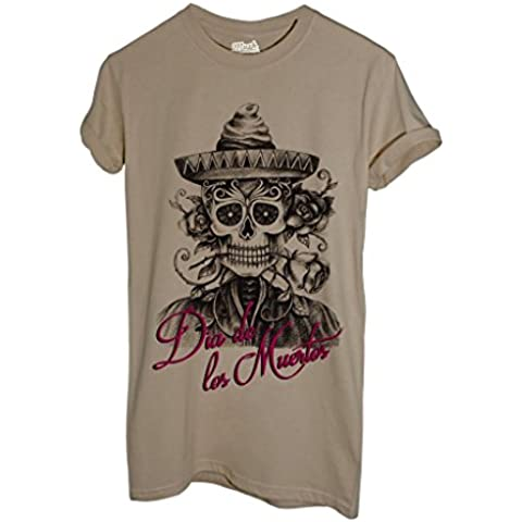 T-Shirt GIORNO DEI MORTI TESCHIO ROSA - MUSH by MUSH Dress Your Style - Uomo-M-SABBIA