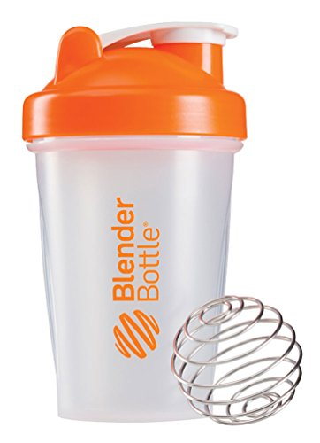 BlenderBottle Classic - Botella de agua y mezcladora, color naranja-transparent, 590 ml