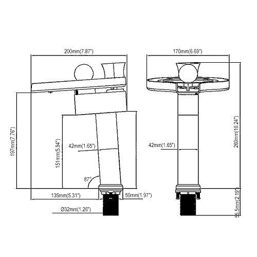 Homelody – Hohe Wasserfall-Waschtischarmatur, Einhebel, LED-Beleuchtung, Verbrühschutz, Chrom - 5