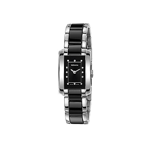 Rodania Swiss Mystery women's quartz Watch with black Dial analogue Display and black ceramic Bracelet RS2457345