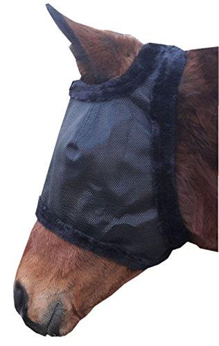 Fliegenmaske Insektenschutzmaske mit Anti-UV Schutz, freier Ohrenausschnitt, mit Kunstfell unterlegt, schwarz