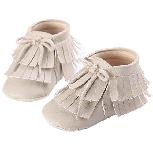 Clode® Niedlich Kleinkind Baby Mädchen Doppelstock-Quasten Leder Schuhe Weiche Sohlen Krippe Schuhe Beige