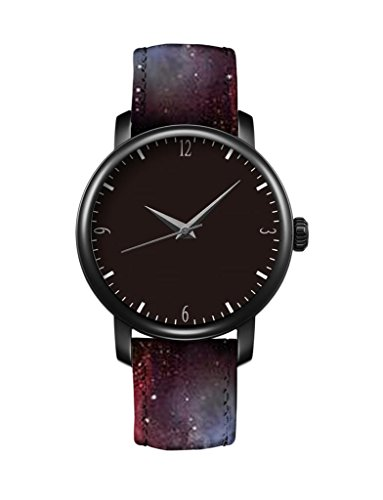icreat-ladies-leather-strap-quartz-watch-black-dial-black-case-watchband-with-space-nebula-cool-cosm