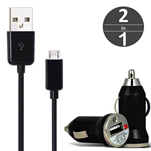 [2 in 1 Set] KFZ USB Charger Universal Ladegerät Adapter für Auto mit LED-Anzeige 1 A / 5 W + Micro USB 2.0 Kabel 1 m Datenkabel von wortek Schwarz
