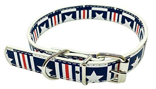 Novenco 4. Juli Hundehalsband Katzenhalsband Verstellbar, aus recyceltem Leder mit American Flagge Muster für Kleine, Mittelgroße und Große Hunde und Katzen, XL, Dunkelblau und - Kostüm Galerie Modell