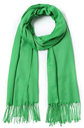 Pashmina Schal und Wraps große Schals für Damen, Hochzeit, Party, Brautschmuck, lange Mode Solider Schal mit Fransen - - Einheitsgröße