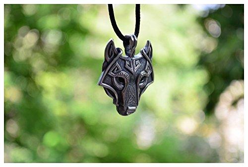 Tocoss(TM) 1pcs nordische Wikinger-Anh?nger-Halskette Skandinavier Wolf-Kopf-Halskette Urspr¨¹ngliches Tier Schmuck Wolf-Kopf-hange