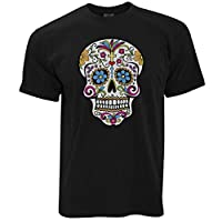 Day Of The Dead T Shirt Mexican Sugar Skull Black Large