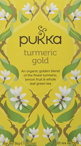 Pukka Turmeric Gold Herbal Tea Bags - Organic Turmeric, Lemon Fruit and Whole Leaf Green Tea (Pack of 4)