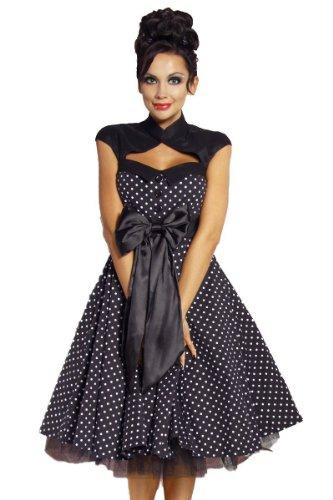 Chic Star Vintage Rockabilly-Kleid Damen Oberteil Kleid Dress Schwarz/Weiß