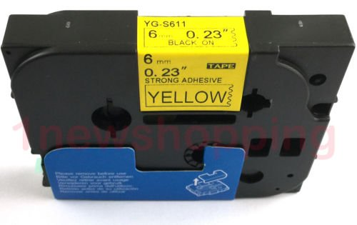 Compatible for Brother P-touch TZe Tz Black on Yellow label tape 6mm 9mm 12mm 18mm 24mm 36mm all size TZe-S611 6mm Extra Stenth Nero/giallo