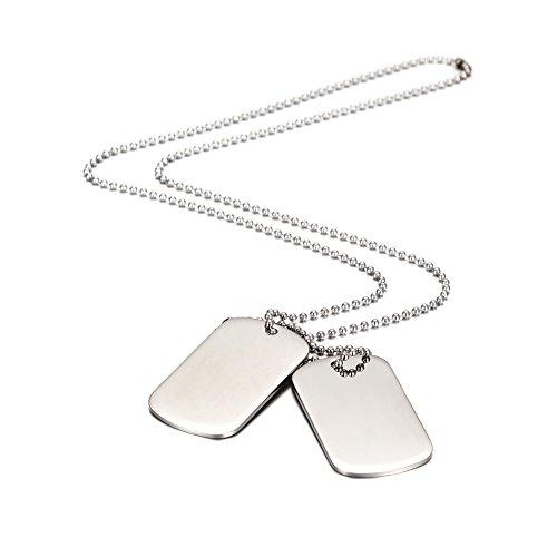 Wistic Jewelry Herren Halsketten mit 2 Dog Tag Anhänger Edelstahl (white)
