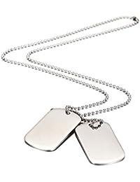 Wistic jewelry Herren Halskette Dog Tag aus Edelstahl Fahrrad Motorradfahrer Einstellbare Kette Geschenk für Jungen Silber Schwarz (White 1)