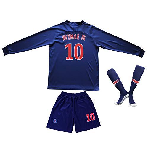 2018/2019 Paris #10 Neymar Jr. Heim Lange Ärmel Kinder Fußball Trikot Hose und Socken Kindergrößen (26 (8-10 Jahre))
