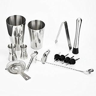 Wokee Professionelles Cocktail Set,13 Stücke Cocktailshaker Set, Cocktail Shaker Set Maker Mixer Martini Geister Muddler Bar Sieb Jigger
