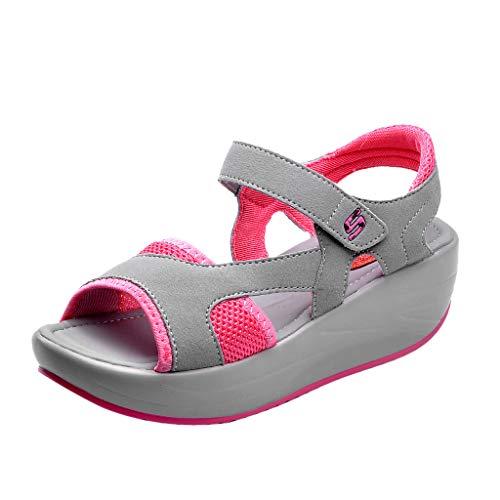 B-COMMERCE Frauen Sommer atmungsaktive weiche Sohle Mesh Sport Sandalen Casual Peep Toe Athletic Strand Schuhe Platform Wedge