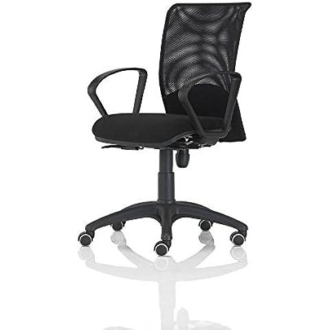 Vaghi Bursa Rete Sedia operativa ufficio con braccioli schienale rete nero – sedile tessuto ignifugo nero