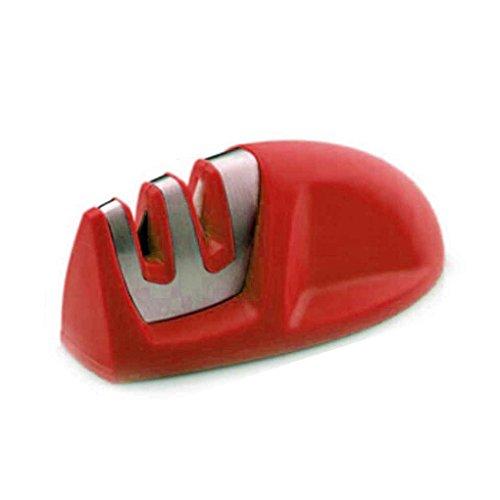 Omkuwl Zweistufige (Keramik + Diamant) Messerschärfer Schärfstein Whetstone Waterstone Küche Abziehstein Sharpener rot