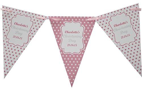 personalisiert Taufe blau & pink Wimpelkette Banner Dekoration